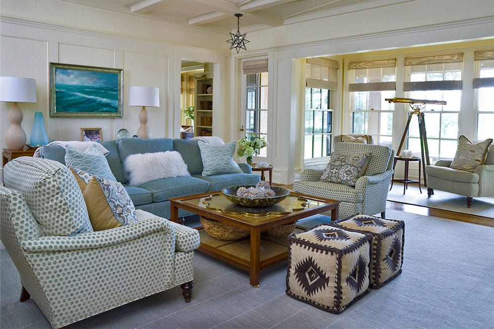 Traditional living room with double hung windowsh double