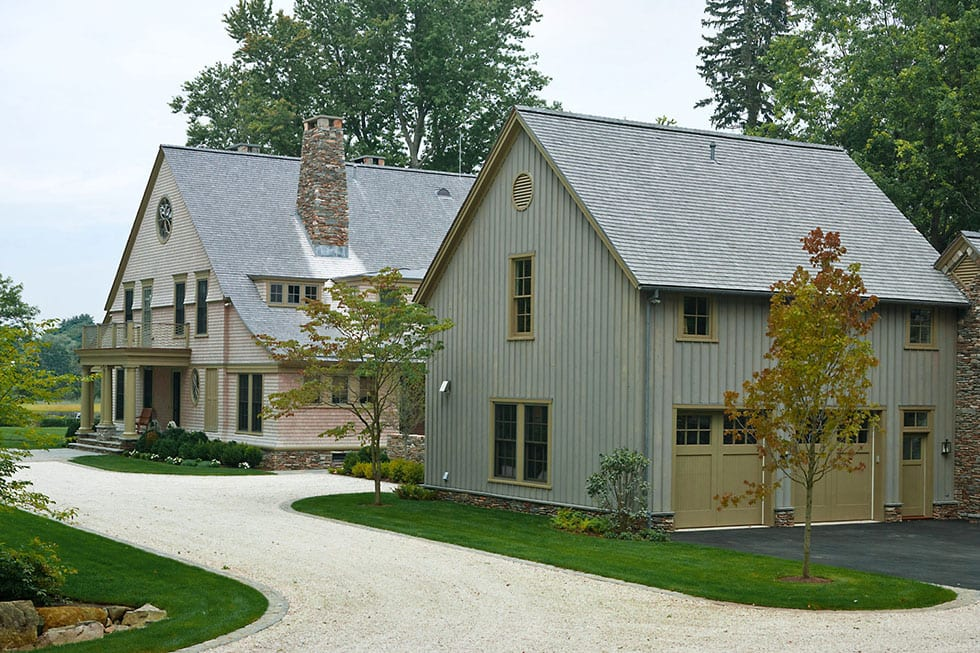 Shingle style traditional home outbuildings