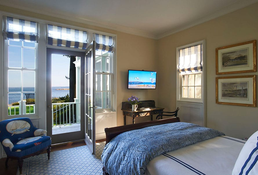 Traditional true divided lite double hung windows in bedroom