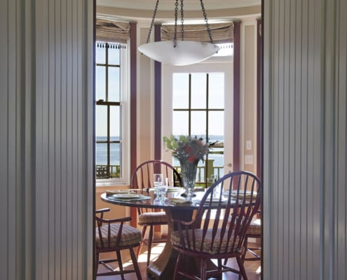 Traditional true divided wood windows in a seaside home
