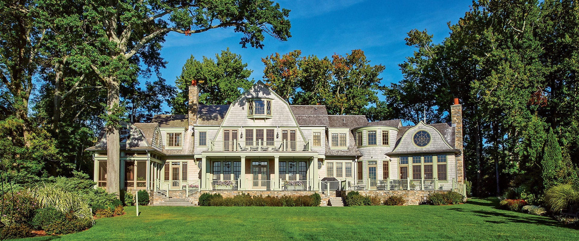 Shingle style home overlooking Long Island exterior view