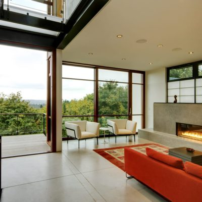 Wood lift and slide doors with unique horizontal mullions in Asian-style home