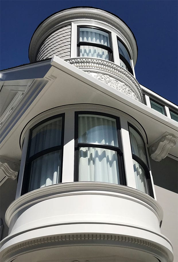 Curved glass and sash double hung windows