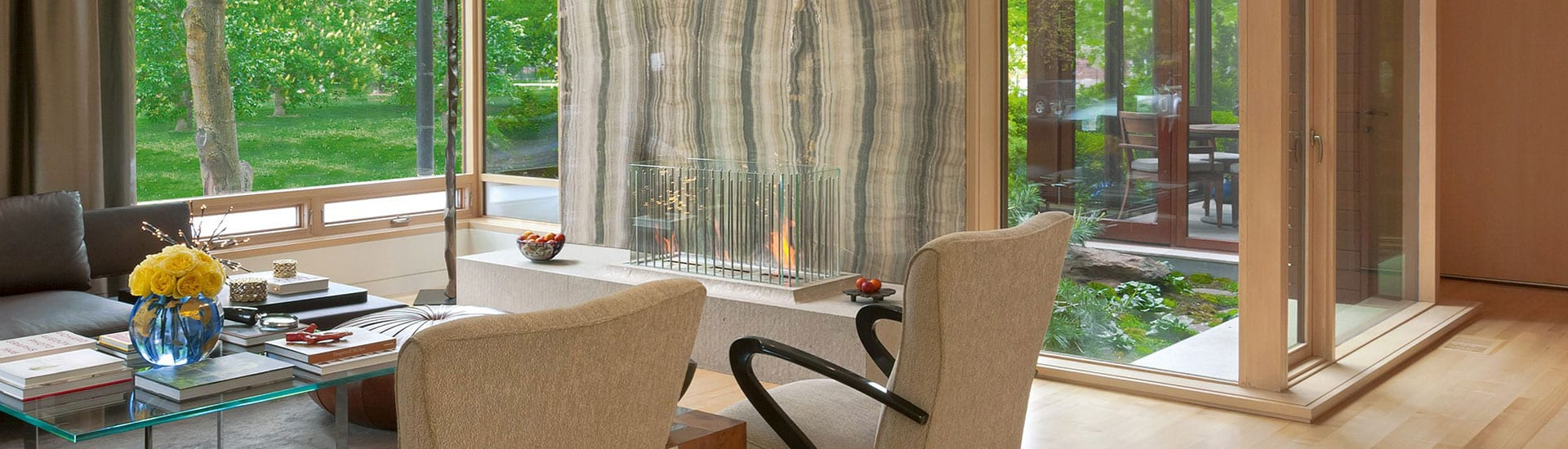 Architectural window design inspiration of view through large living room windows