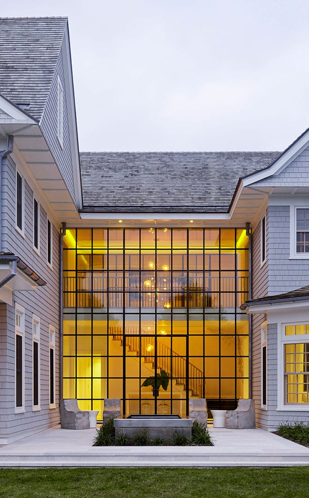 Steel storefront window wall with french doors