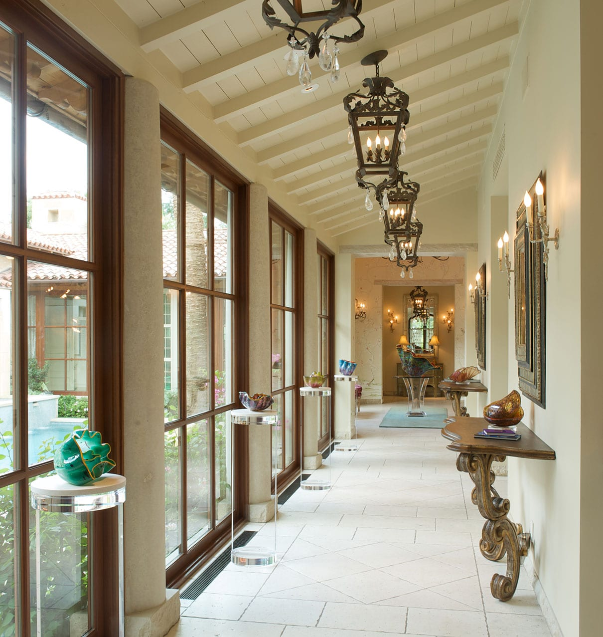 Traditional wood true divided lite windows in hallway
