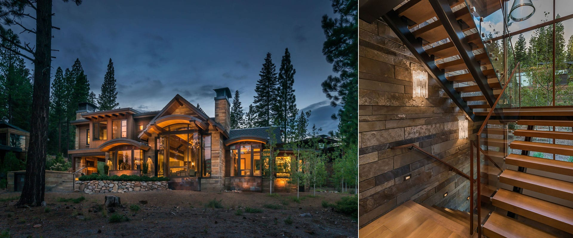 Exterior night view of modern mountain home with tall wood windows